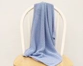 blue knit baby blanket - cotton blanket - knitted baby blanket