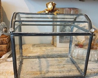 Glass display case French Nordic leaded handmade vintage display case w/ lid embellished rhinestone showcase home decor anita spero design