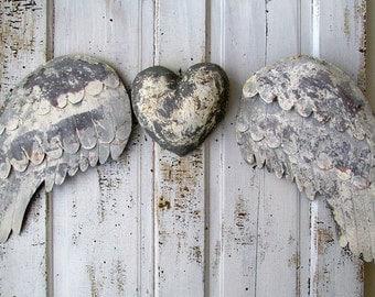 Rusty angel wings w/ heart wall hanging French Santos inspired gray white metal cherub wing set hand cut metal home decor anita spero design