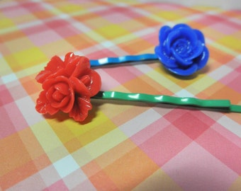 Red and Blue Girls Flower Hair Pins Bobby Pins - Set of 2