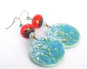 Blue Disc Earrings Orange Blue dangle Secret Garden Polymer Glass Floral Jewelry Bohemian Jewelry Rustic Jewelry