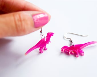 T-Rex Dinosaur Dangle Earrings. T-Rex Drop Earrings. Laser Cut Acrylic Dinosaur Colour Perspex. Statement Earrings. Dinosaur Jewellery