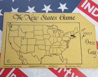 Vintage 1920s State Flash Card - Your Choice of States A - M | The New States Game | Collectible, Ephemera, Scrapbook, Decor, Assemblage