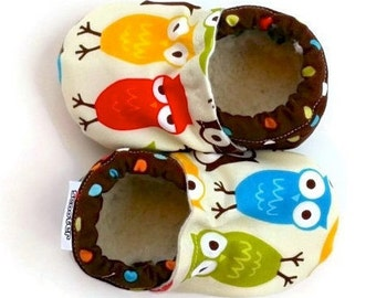 owl baby booties, shoes for baby owl clothing soft sole shoes vegan baby woodland creatures brown crib shoes baby shower gift gender neutral