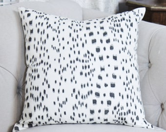Brunschwig and Fils Pillow Cover - Les Touches Pillow - Black and Off White Pillow Cover - Motif Pillows -