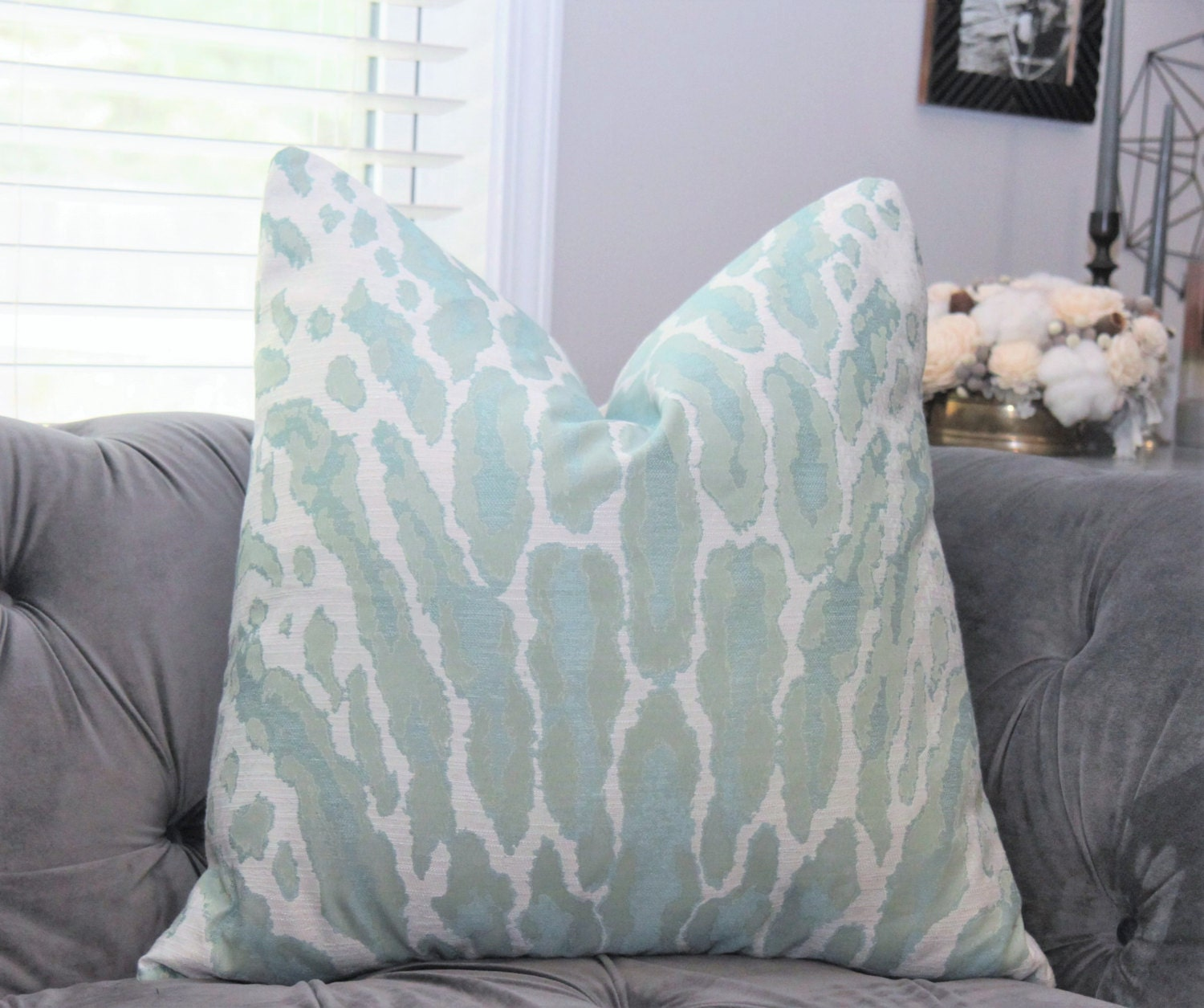 Animal Print Pillow Aqua Woven Large Scale Pillow Cover