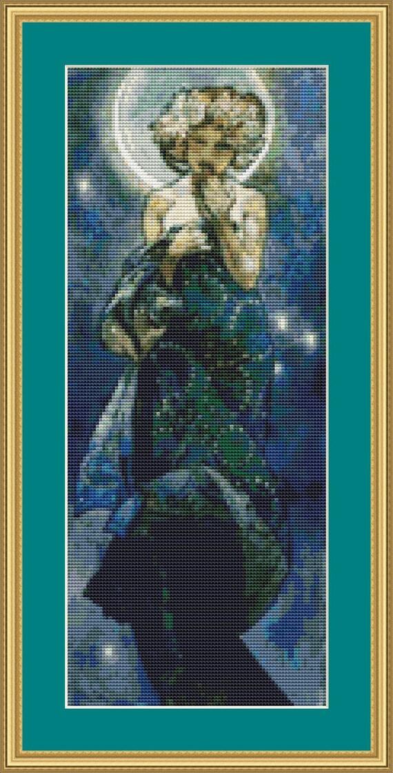 Moon Cross Stitch Pattern /Digital PDF Files /Instant downloadable