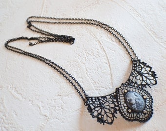 Gothic Victorian Necklace, Gothic Cameo Necklace, Gothic Necklace, Gothic Jewelry, Victorian Jewelry, Victorian Gothic, Steampunk,  Necklace