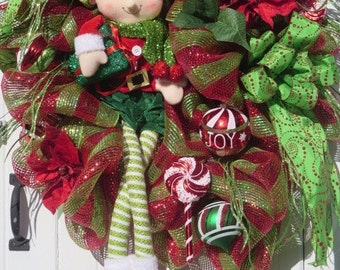 Elf Christmas Wreath, Elf Wreath, Christmas Deco Mesh Wreath, Christmas Door Wreath, Front Door Wreath Christmas, Double Door Wreaths