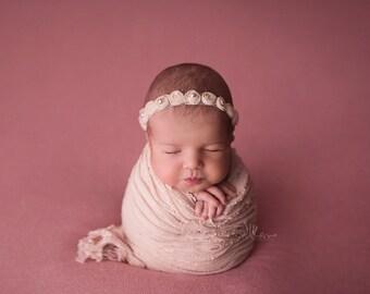 Chantel Newborn Set, Blush or Malt Rosebud Halo and Ruffle Wrap Set, Baby Photo Prop, Baby Beaded Headband, Baby Ruffle Wrap