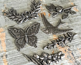antiqued silver findings flower floral rose bird swallow butterfly castings jewelry mixed media assemblage romantic cottage, lot of 6 pcs