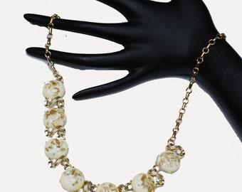 Vintage Coro Gold and Cream  Confetti Thermoset Necklace