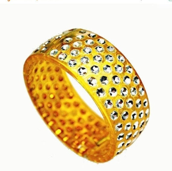 Orange Sparkle Hinged Bangle  - Amber yellow orange  - Apple juice - Vintage plastic -  Hinged  Bracelet