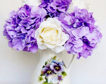 Artificial Flower Arrangement, Cream Colored Roses, Light Purple Hydrangea, Floral Porcelain Vase, Silk Flower Arrangement, Silk Home Decor,