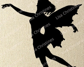 Fairy Fantasy Black Silhouette Illustration Clipart, Instant Download, Digital Transfer Image for Fabric Transfers, Paper Crafts 243