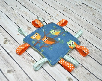 Tag Toy - Baby Taggie - Baby Crinkle Toy - Teething, Stroller Toy - Blue with Owls