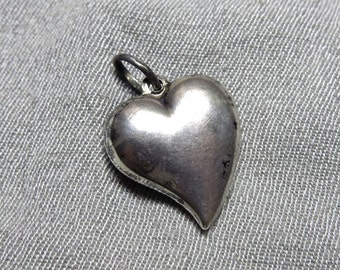 70s Solid Sterling Silver Heart Pendant - Valentines Day