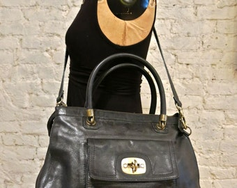 80s Oversized Black Leather Satchel - Great Vintage Bag by Nordstrom