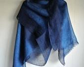 Deep Indigo Ombre dyed Linen scarf
