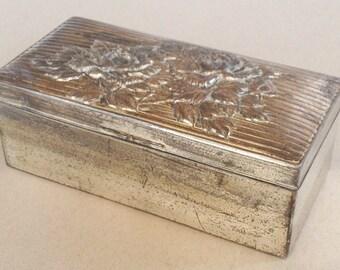 Vintage Silver tone Jewellery Box, Trinket Box, White Metal Casket, Ridged Lid, Raised Flower Design, Wooden Interior, Storage Box Container