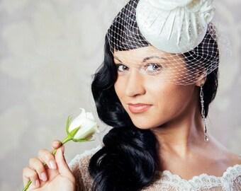 Cream Bridal Pillbox Hat with Silk Roses  - White Bridal Fascinator with Birdcage Veil - Cream Wedding Hat