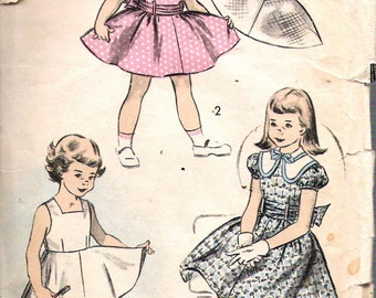"""Vintage 1952 Advance 6001 Girl's Dress Sewing Pattern Size 6 Breast 24"""""""