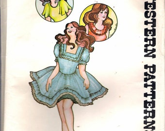 Vintage 1970's Authentic Patterns 260 Square Dance Western Wear Dress Sewing Pattern Size 18 Bust 40""