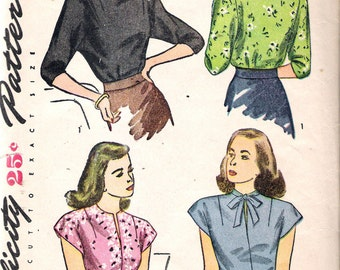 """Vintage 1945 Simplicity 1403 Misses & women's Blouses Sewing Pattern Size 12 Bust 30"""""""