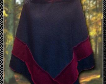 Hooded Poncho, cape, polar fleece, pixie hood or short rounded hood, unisex, festivals, woodland, casual