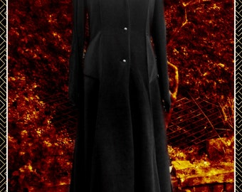 Plus Size Full Length Black Fleece Princess of Darkness Jacket/Coat, Goth, Vampire
