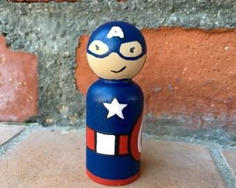 Captain America inspired Peg Doll