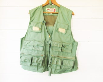 A Pale Green 'WFS' Fishing Vest - Vintage Never Worn - Includes Zip-on Fish Pocket - Made in Hong Kong - Sanforized - A Zillion Pockets