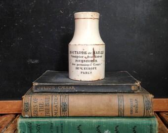 Antique French Mustard Pot, Moutarde de Maille Mustard Jar, Paris, Stoneware Crock, French Mustard Crock
