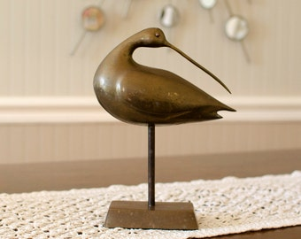 Rustic Mid-Century Brass Curlew Bird Statue - Long Beak, Single Leg Pedestal - Minimalist Vintage Home Decor