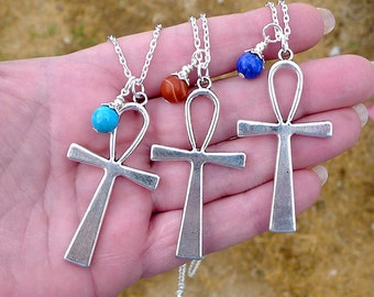 Large Silver Ankh Pendant on Chain with Lapis, Turquoise or Carnelian, Tibetan Silver Ankh Necklace with Stone Choice Egyptian Jewelry P0824