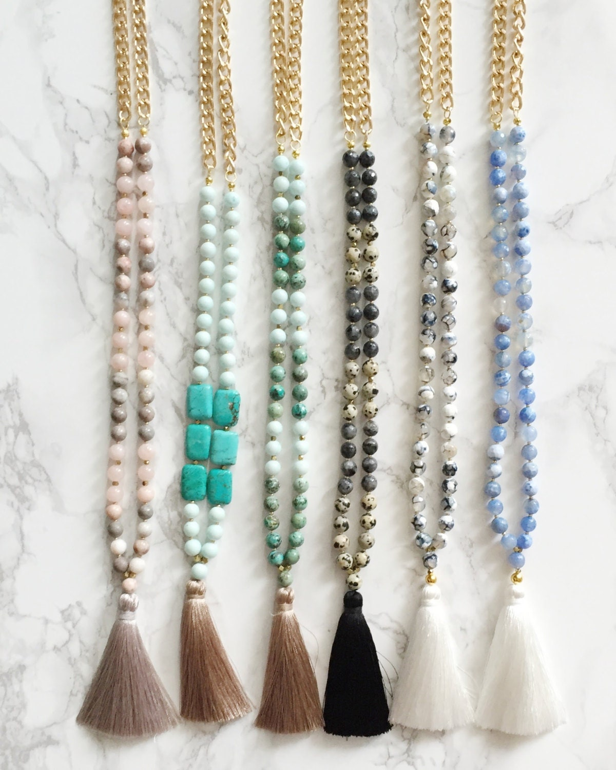 Beaded Tassel Necklace - Light Blue & White