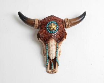 Faux Longhorn Skull Natural Faux Tooled Leather Resin Buffalo / Bison Skull Head Animal Skull w/Turquoise Resin Bead Detail - Cow Skull