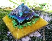 Vibrant Orgonite Pyramid // Yellow Green and Amethyst Vibes