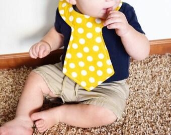 Yellow Polka Dot Baby Necktie Bib