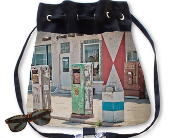 BOHO Backpack Purse Midway Station Rt. 66 Adrian Texas Retro Gas Pumps