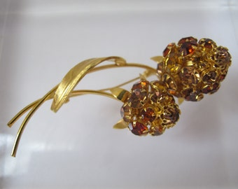 Romantic Rhinestones for your Collar or Lapel, Citrine Golden Crystal Set Flower Brooch/ Corsage Style Flower Floral Sprig of Color/ AW15-16
