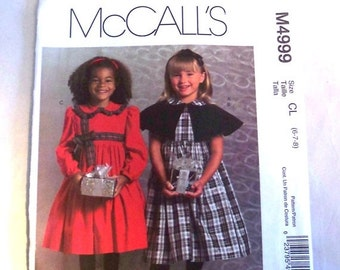 McCalls M 4999 Children's lined Capelet and Dresses Siz CL (6 - 7 - 8)