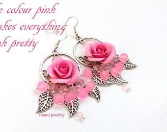 Pink Earrings, Wedding Jewelry, Pink Roses, Flower Earrings, Pink Jewelry, Roses, Romantic Earrings, Round Earrings, Dangle Earrings, Gift