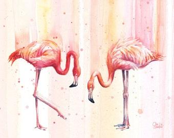 Two Pink Flamingos Watercolor Art Print Flamingo Print Wall Art Tropical Print Pink Birds Giclee Art Print, Flamingo Artwork, Nursery Decor