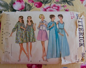 Nightgown & Robe in 2 lengths and Bed Jacket Misses 12 Bust 34 Butterick 5534 vintage 60's sewing pattern