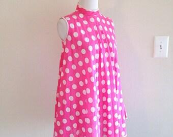 Adorable Vintage 1960s Bubblegum Pink Polka Dots Trapeze Mini Dress