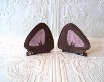 Kitty  Barrette - Cat Ear Clips - Dressup Ears - Costume Ear Clips - Brown Cat Ears - Kitty Ear Clips - Brown Felt Barrette - Hair Accessory