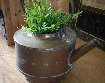 Antique Vintage Brass Copper Handmade Tea Pot Repurposed as Pot Jar Vase etc est 1900