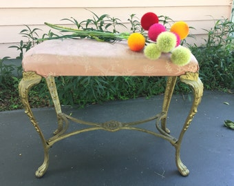 Sale! VICTORIAN CAST IRON Bench, Regency Decor, Palm Beach Chic, French Provincial Ready for a Redo at Ageless Alchemy