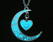 Crescent Moon Glowing Heart Necklace, Glow In The Dark Necklace, Moon Heart Jewelry Pendant, Antique Silver (glows aqua blue)